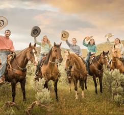 Cowboy scenes and adventurous galloping always